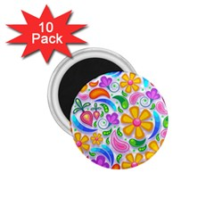 Floral Paisley Background Flower 1.75  Magnets (10 pack)