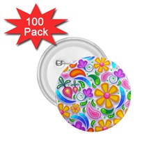 Floral Paisley Background Flower 1.75  Buttons (100 pack)