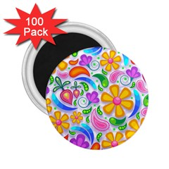 Floral Paisley Background Flower 2.25  Magnets (100 pack)
