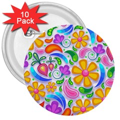 Floral Paisley Background Flower 3  Buttons (10 pack)