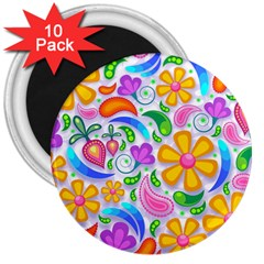 Floral Paisley Background Flower 3  Magnets (10 pack)