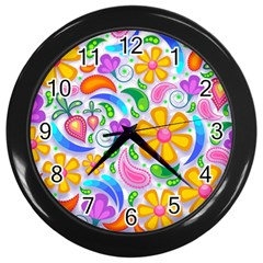 Floral Paisley Background Flower Wall Clocks (Black)