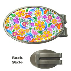 Floral Paisley Background Flower Money Clips (Oval)