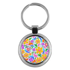 Floral Paisley Background Flower Key Chains (Round)
