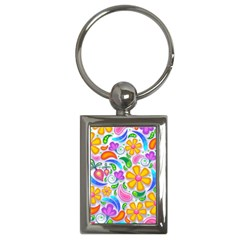 Floral Paisley Background Flower Key Chains (Rectangle)