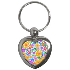 Floral Paisley Background Flower Key Chains (Heart)