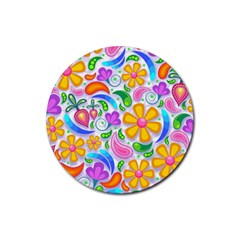 Floral Paisley Background Flower Rubber Coaster (Round)