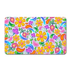 Floral Paisley Background Flower Magnet (Rectangular)