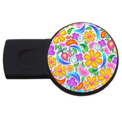 Floral Paisley Background Flower USB Flash Drive Round (2 GB)