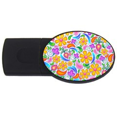 Floral Paisley Background Flower USB Flash Drive Oval (2 GB)