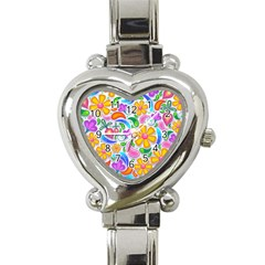 Floral Paisley Background Flower Heart Italian Charm Watch