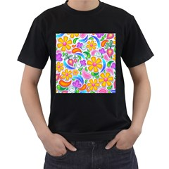 Floral Paisley Background Flower Men s T-Shirt (Black) (Two Sided)
