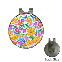 Floral Paisley Background Flower Hat Clips with Golf Markers