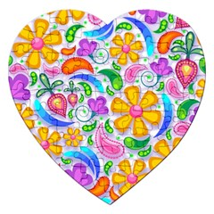 Floral Paisley Background Flower Jigsaw Puzzle (Heart)