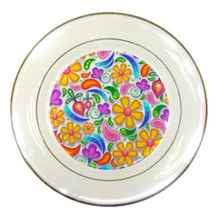 Floral Paisley Background Flower Porcelain Plates