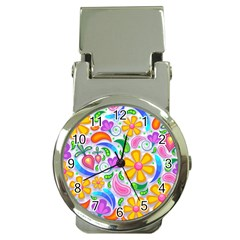 Floral Paisley Background Flower Money Clip Watches