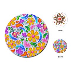 Floral Paisley Background Flower Playing Cards (Round)