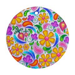 Floral Paisley Background Flower Round Ornament (Two Sides)