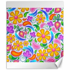 Floral Paisley Background Flower Canvas 8  x 10