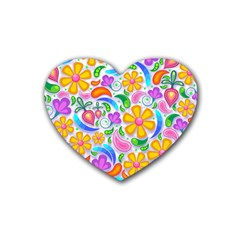 Floral Paisley Background Flower Heart Coaster (4 pack)