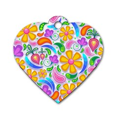 Floral Paisley Background Flower Dog Tag Heart (One Side)