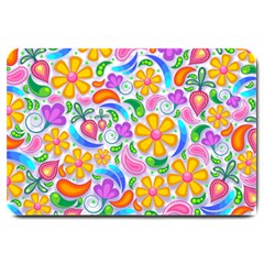 Floral Paisley Background Flower Large Doormat