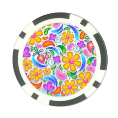 Floral Paisley Background Flower Poker Chip Card Guards
