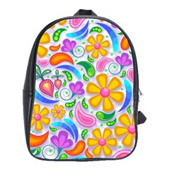 Floral Paisley Background Flower School Bags(Large)