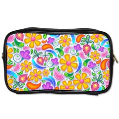 Floral Paisley Background Flower Toiletries Bags