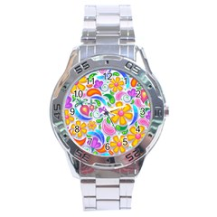Floral Paisley Background Flower Stainless Steel Analogue Watch