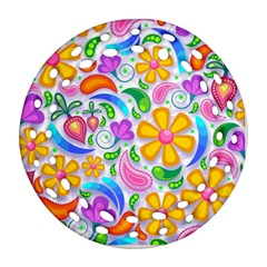 Floral Paisley Background Flower Round Filigree Ornament (2Side)