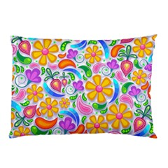 Floral Paisley Background Flower Pillow Case (Two Sides)