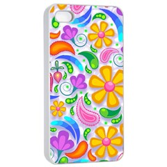 Floral Paisley Background Flower Apple iPhone 4/4s Seamless Case (White)