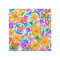 Floral Paisley Background Flower Acrylic Tangram Puzzle (4  x 4 )