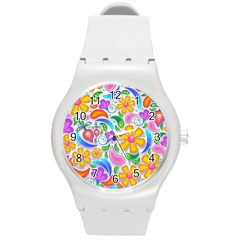 Floral Paisley Background Flower Round Plastic Sport Watch (M)