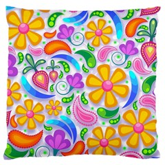 Floral Paisley Background Flower Large Cushion Case (Two Sides)