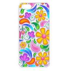 Floral Paisley Background Flower Apple iPhone 5 Seamless Case (White)