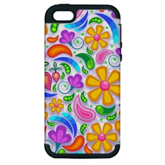 Floral Paisley Background Flower Apple iPhone 5 Hardshell Case (PC+Silicone)