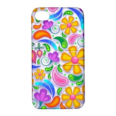 Floral Paisley Background Flower Apple iPhone 4/4S Hardshell Case with Stand