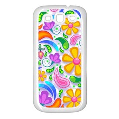 Floral Paisley Background Flower Samsung Galaxy S3 Back Case (White)