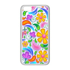 Floral Paisley Background Flower Apple iPhone 5C Seamless Case (White)