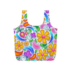 Floral Paisley Background Flower Full Print Recycle Bags (S)