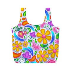 Floral Paisley Background Flower Full Print Recycle Bags (M)