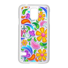Floral Paisley Background Flower Samsung Galaxy S5 Case (White)