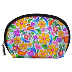 Floral Paisley Background Flower Accessory Pouches (Large)