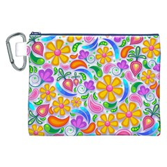 Floral Paisley Background Flower Canvas Cosmetic Bag (XXL)