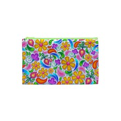 Floral Paisley Background Flower Cosmetic Bag (XS)
