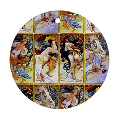 Alfons Mucha 1895 The Four Seasons Round Ornament (Two Sides)