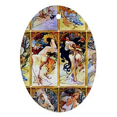 Alfons Mucha 1895 The Four Seasons Oval Ornament (Two Sides)