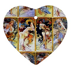 Alfons Mucha 1895 The Four Seasons Heart Ornament (2 Sides)